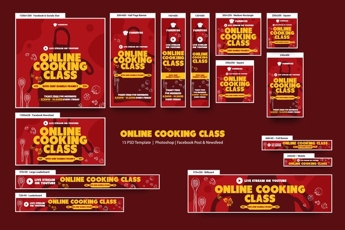 Online Cooking Class Banners Ad