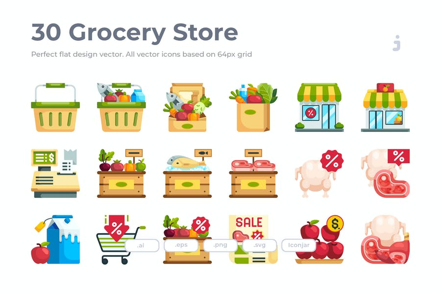 30 Grocery Icons - Flat
