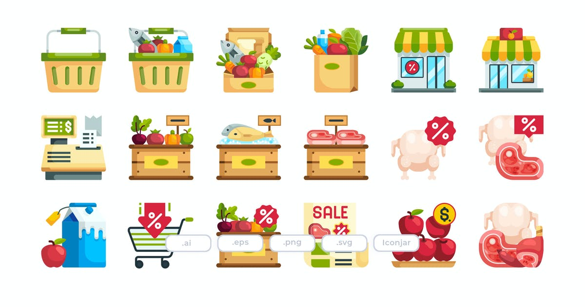 Download 30 Grocery Icons - Flat by Justicon
