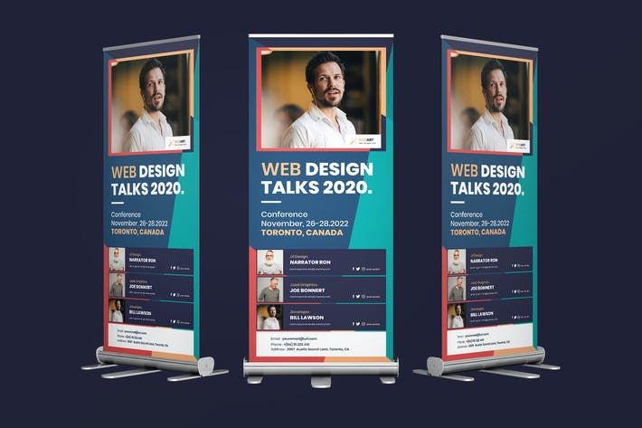 Cover Image For Conference Rollup PSD Template