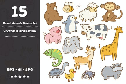 Ensemble Doodle Animals Kawaii