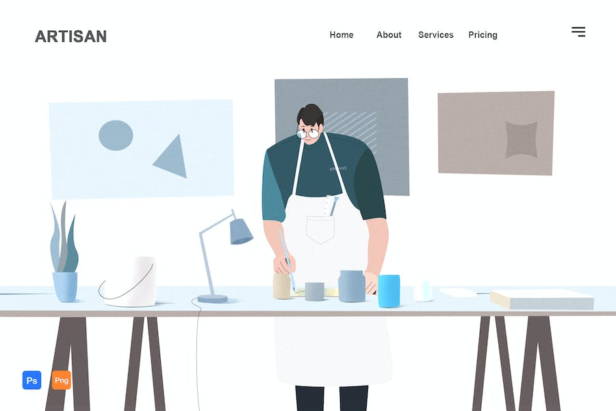 The daily life of an artist - Flat Illustration