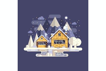 Winter Mountain House on Frozen Lake