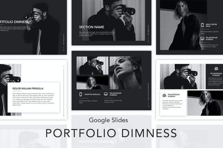 Thumbnail for Portfolio Dimness Google Slides Template