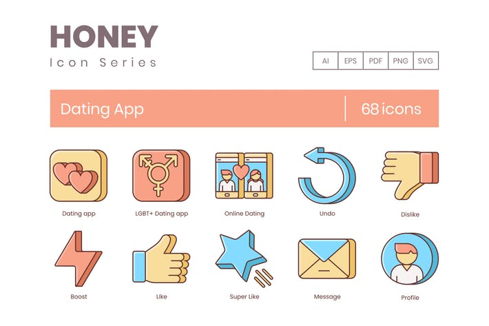 Thumbnail for 68 Dating App Icons | Honey Series