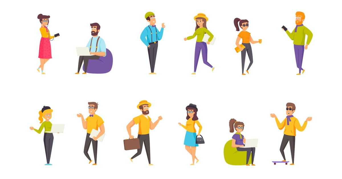 Download Hipsters Peopel Character Situation by alexdndz