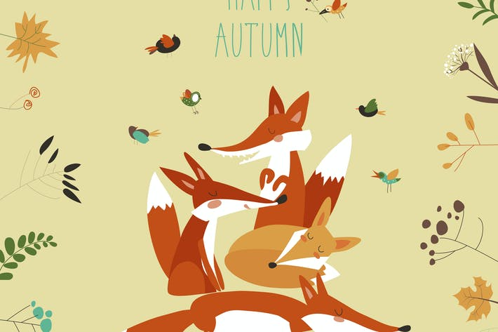 Thumbnail for Cute foxes with autumn leaves and plants. Vector