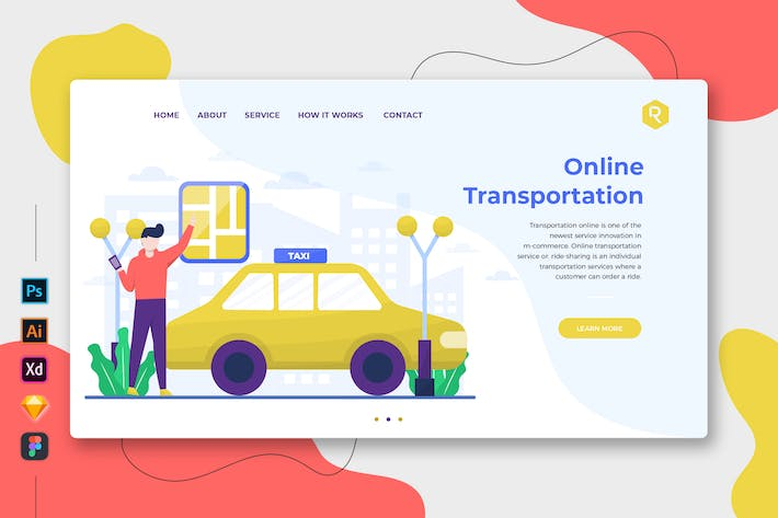 Thumbnail for Online Transportation - Web & Mobile Landing Page