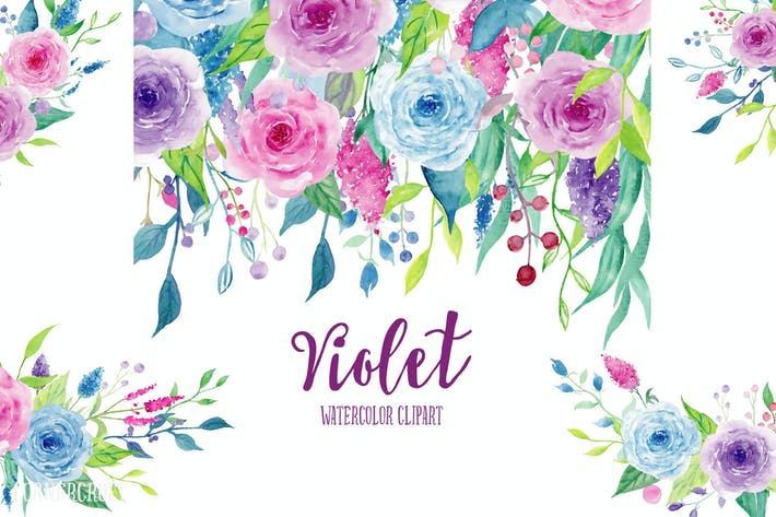 Thumbnail for Watercolor Clipart Violet Collection