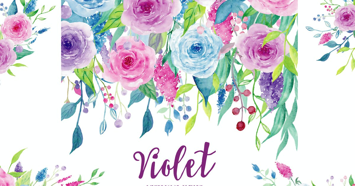 Download Watercolor Clipart Violet Collection by cornercroft