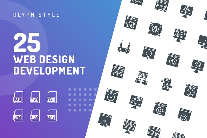 Thumbnail for Web Design Development Glyphe Icons