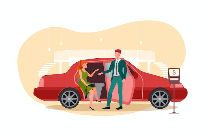 Thumbnail for Young woman is talking to car insurance salesman