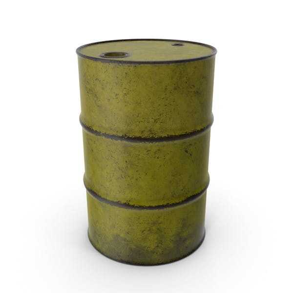 Barrel Metal Old Yellow
