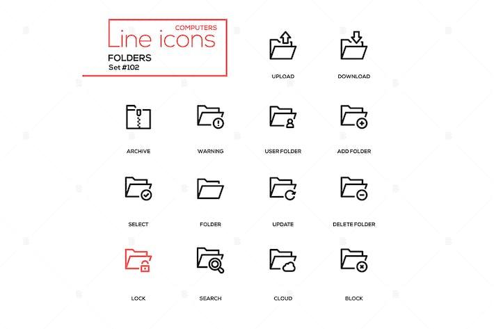 Thumbnail for Folders - modern line design icons set