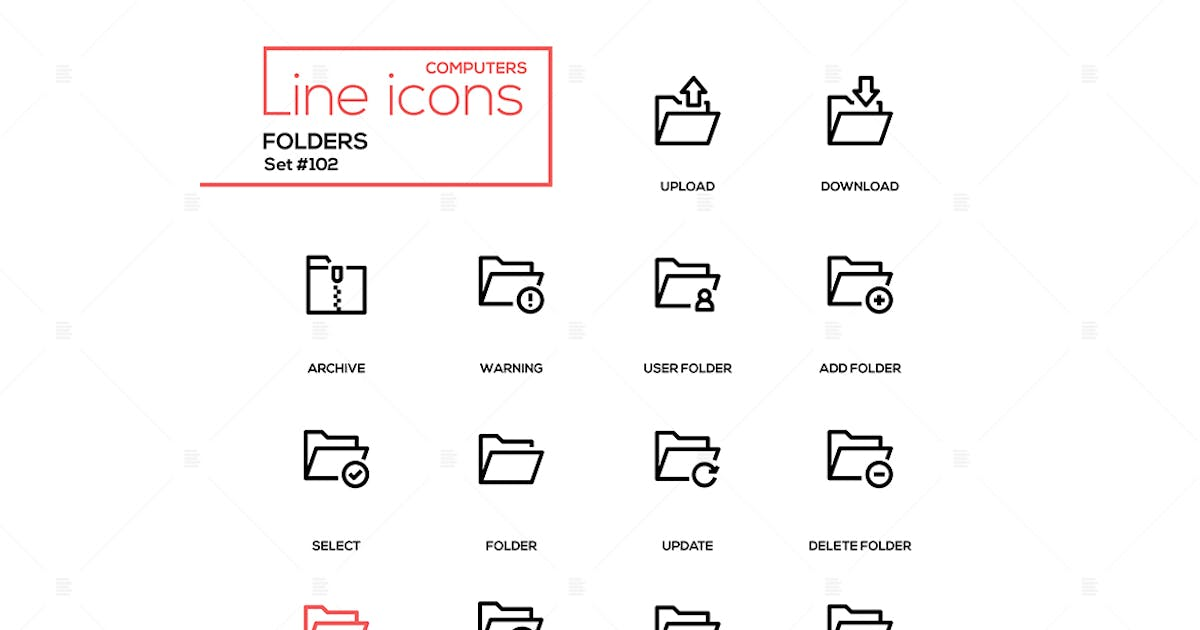 Download Folders - modern line design icons set by BoykoPictures