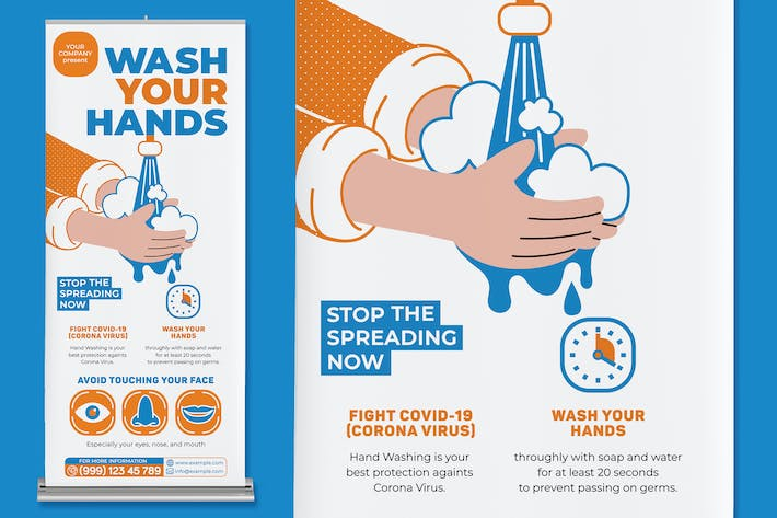 Thumbnail for Wash Your Hands Roll Up Banner
