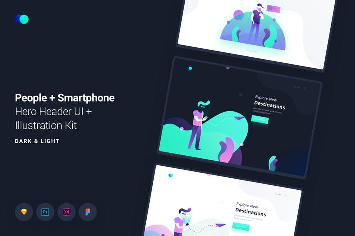 Thumbnail for People Smartphone Web Header Illustrations Kit