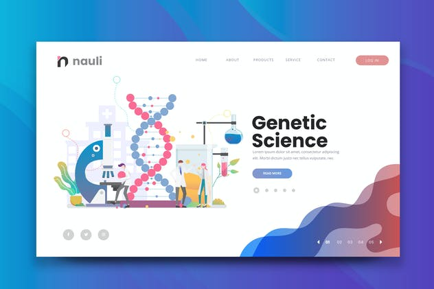 Genetic Science Web PSD and AI Vector Template