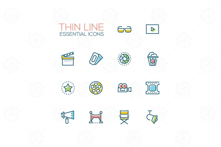 Thumbnail for Cinema icons - modern vector thin line icons