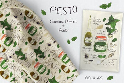 Pesto Recipe Fabric and Tea Towel