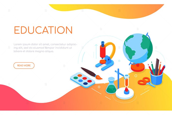 Thumbnail for Education concept - colorful isometric web banner