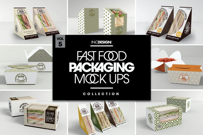 Thumbnail for Fast Food Boxes Vol.5: Take Out Packaging Mockups