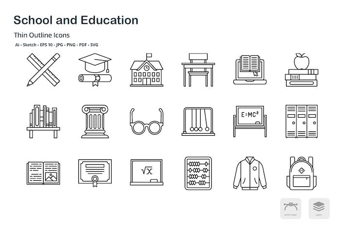 Thumbnail for School and Education thin outline icons