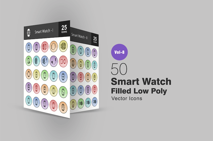 Thumbnail for 50 Smart Watch Filled Low Poly Icons