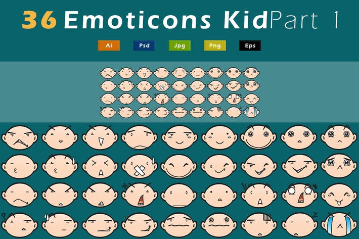 Thumbnail for 36 Emoticons Kid - Pack 1 GL