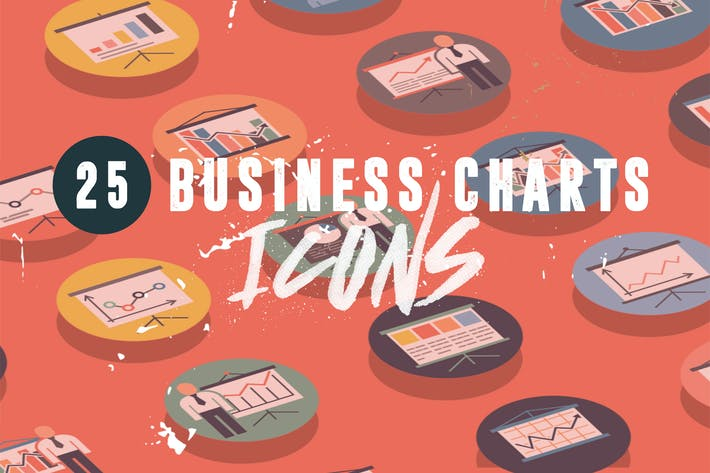 Cover Image For 25 Business Charts Icons