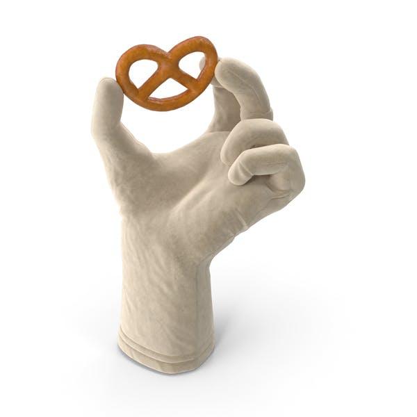 Glove Holding a Mini Pretzel