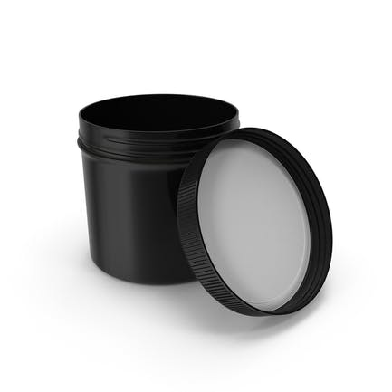Black Plastic Jar Wide Mouth Straight Sided 12oz Open