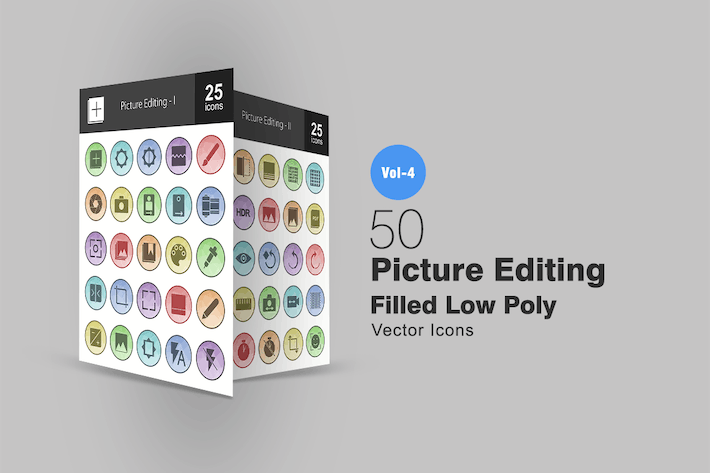 Thumbnail for 50 Picture Editing Filled Low Poly Icons