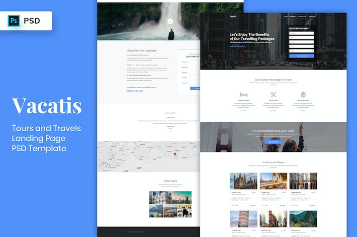 Cover Image For Tours & Travels - Landing Page PSD Template