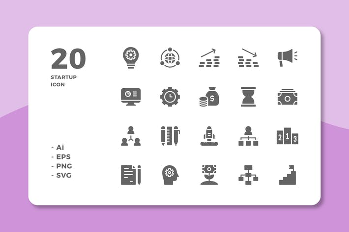 Thumbnail for 20 Startup Icons (Solid)