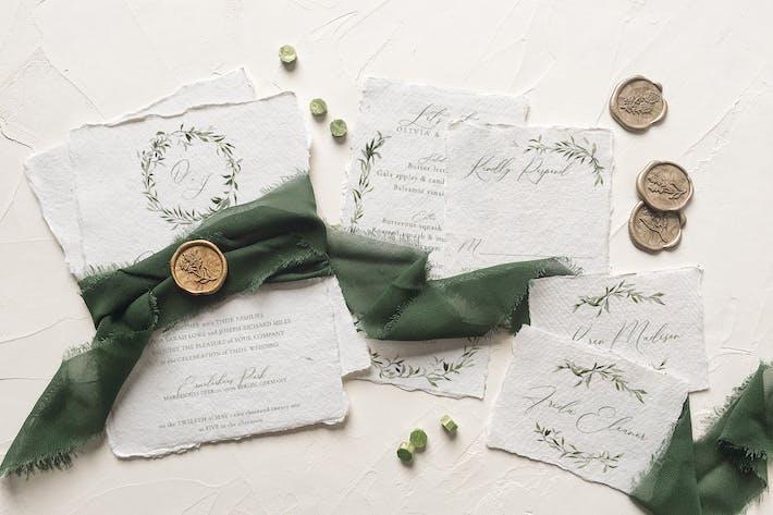 Watercolor Monogram Wedding Suite