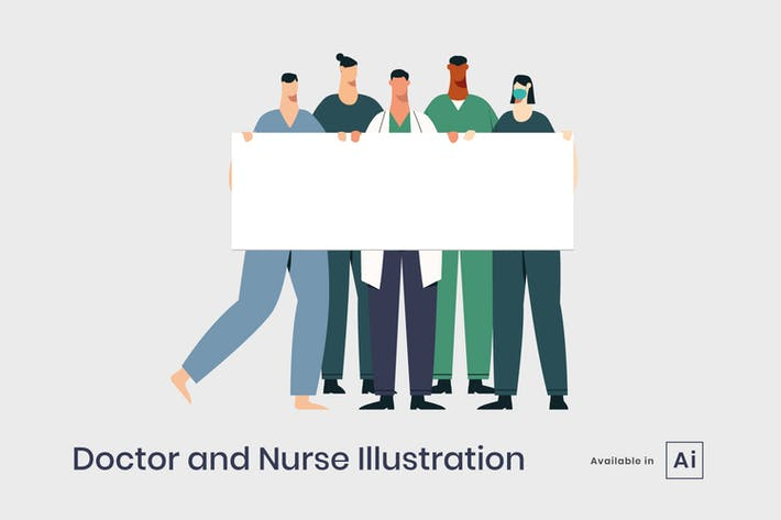 Doctor and nurse holding sign board