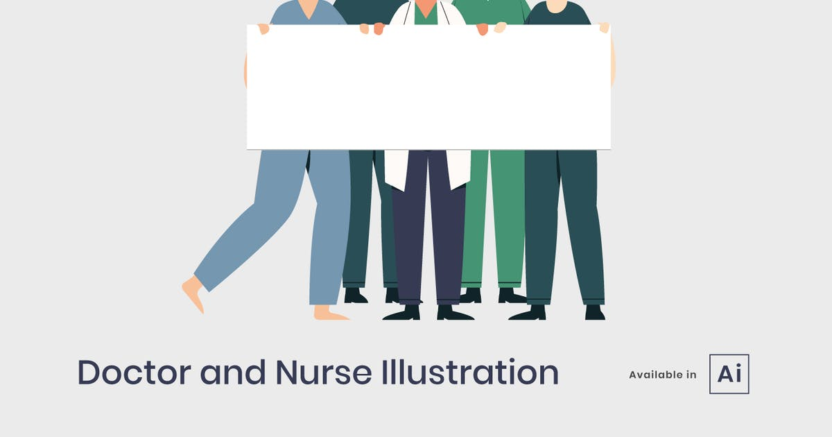 Download Doctor and nurse holding sign board by visuelcolonie