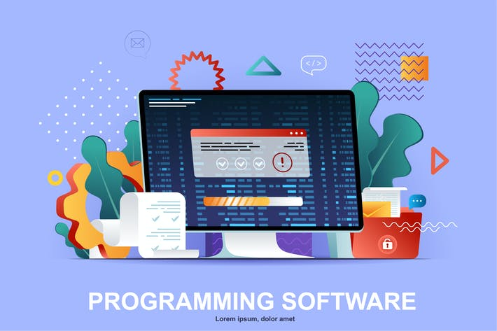 Programming Flat Concept Vector Illustration