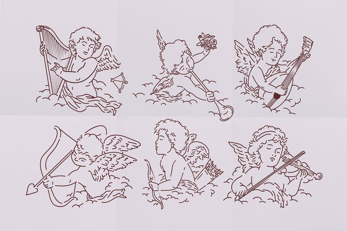 Thumbnail for Valentinstag Cupids Illustration Set