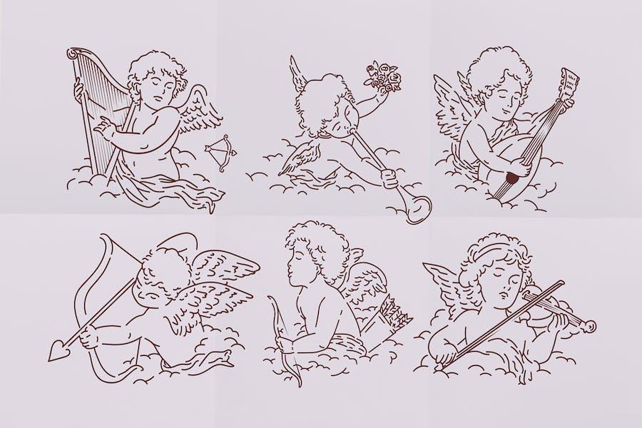 Набор иллюстраций Амуры Святого Валентина