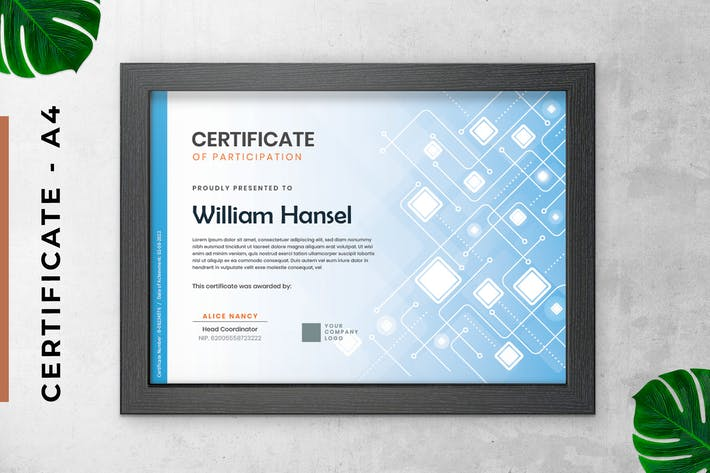 Electric Blue Certificate / Diploma Template