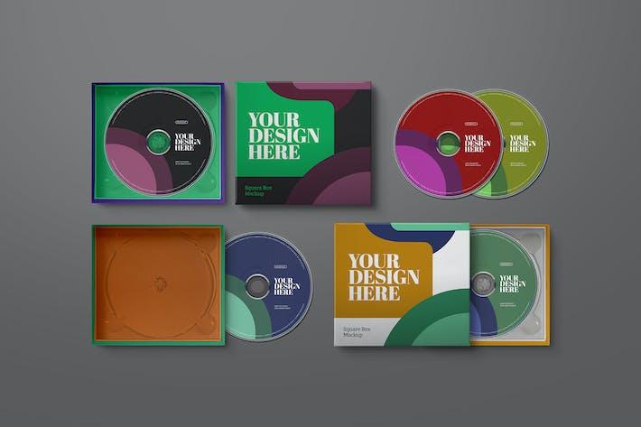 Thumbnail for CD Mockup Cardboard Jewel Square Case Paper Box