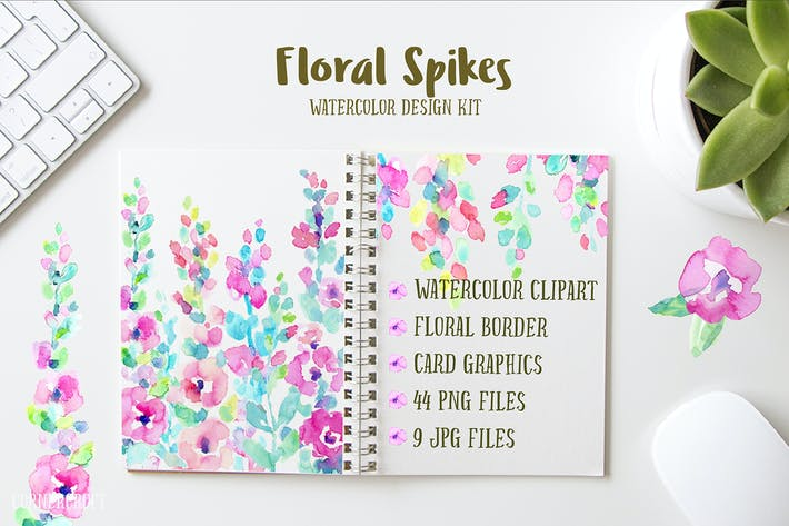 Thumbnail for Watercolor Design Kit Floral Spikes