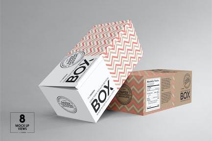 Top Tuck Auto Bottom Long Box Packaging Mockup