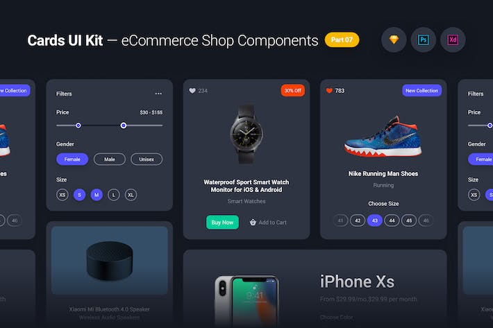 Cover Image For Cards UI Kit - eCommerce Shop Widgets & Components