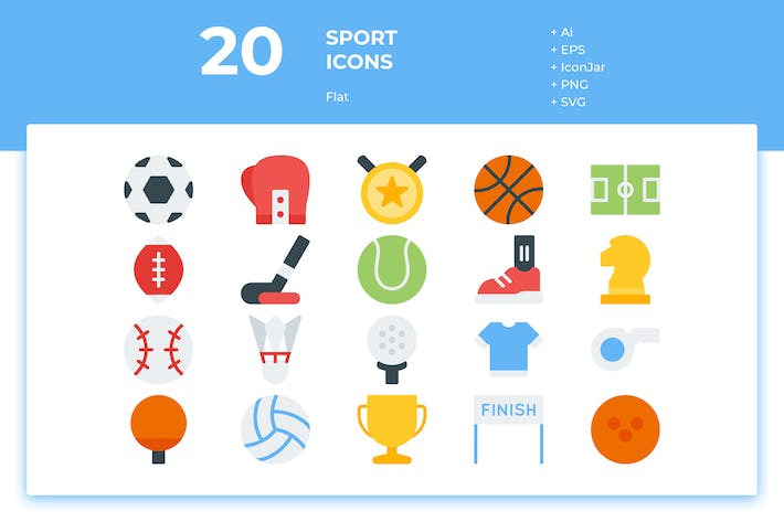 Thumbnail for 20 Sport Icons (Flat)