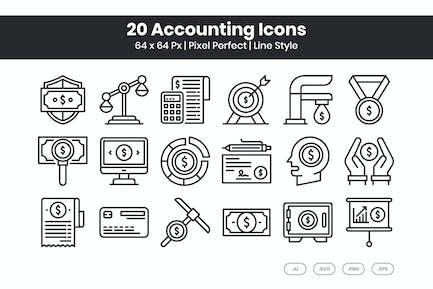 20 Buchhaltungssymbole eingestellt - Linie