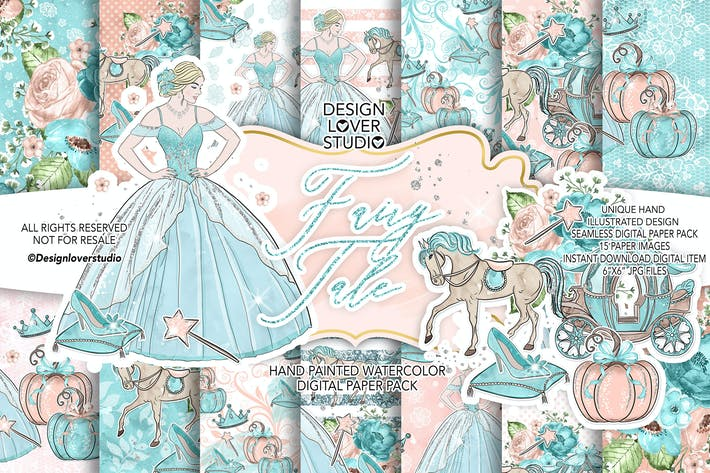 Thumbnail for Fairy Tale digital paper pack