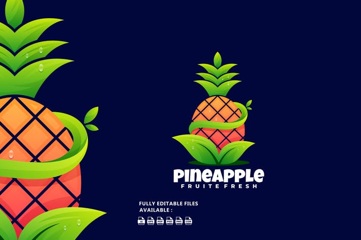 Ananas-Gradienten-buntes Logo